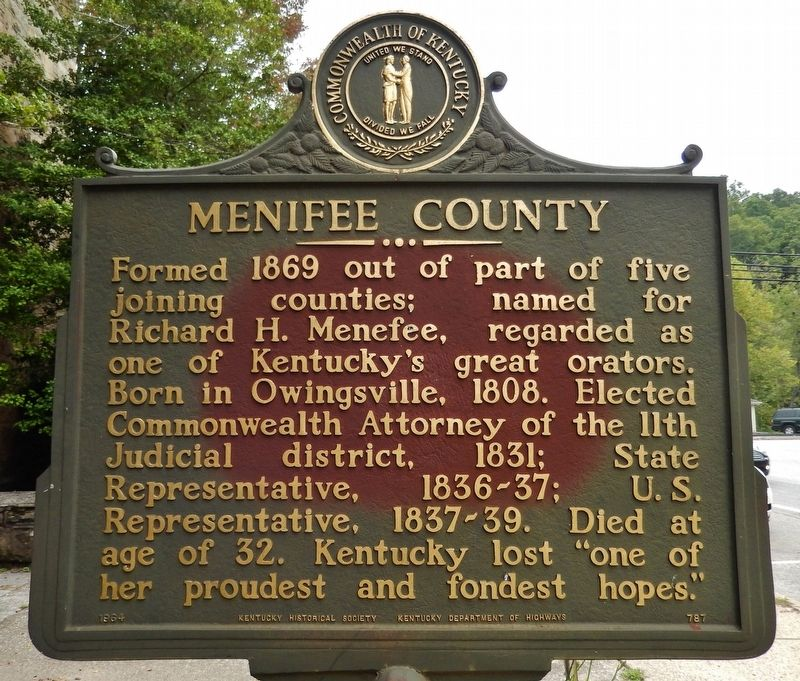 Menifee County Marker image. Click for full size.