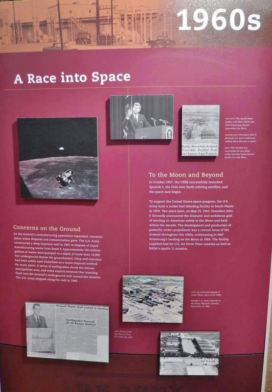 A Race into Space (<i>interpretive panel inside Rocky Mountain Arsenal Visitor Center</i>) image. Click for full size.
