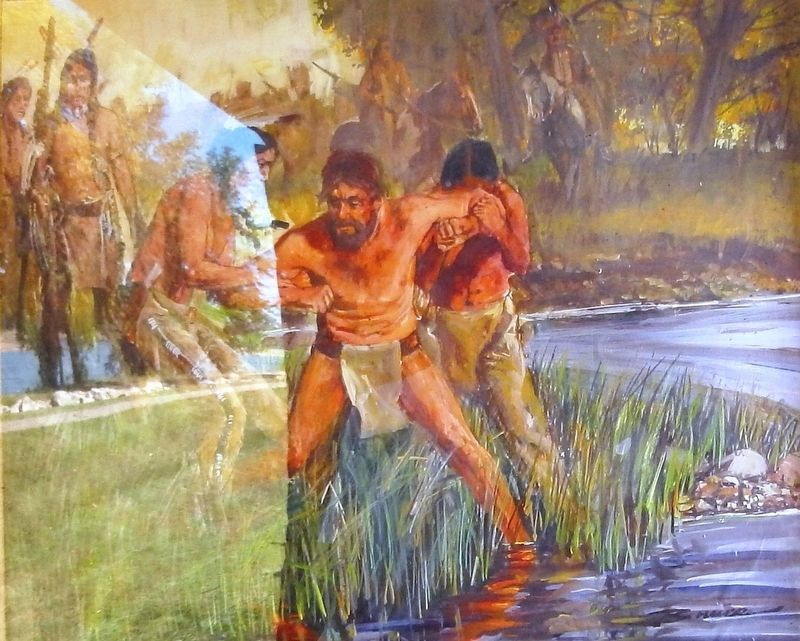 Marker detail: Artist John Bruce depicts John Colter being captured by the Blackfeet Indians image, Touch for more information