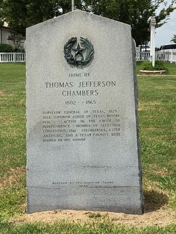 Home of Thomas Jefferson Chambers Marker image. Click for full size.