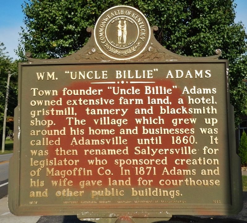 "Wm. ""Uncle Billie"" Adams Marker image. Click for full size."