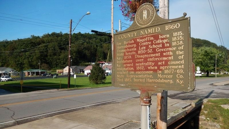 County Named, 1860 Marker (<i>wide view; Maple Street in background</i>) image. Click for full size.