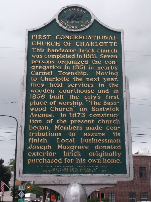 First Congregational Church of Charlotte Marker image. Click for full size.