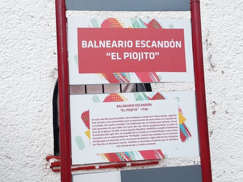 The Escandón Bathing Pools Marker image. Click for full size.