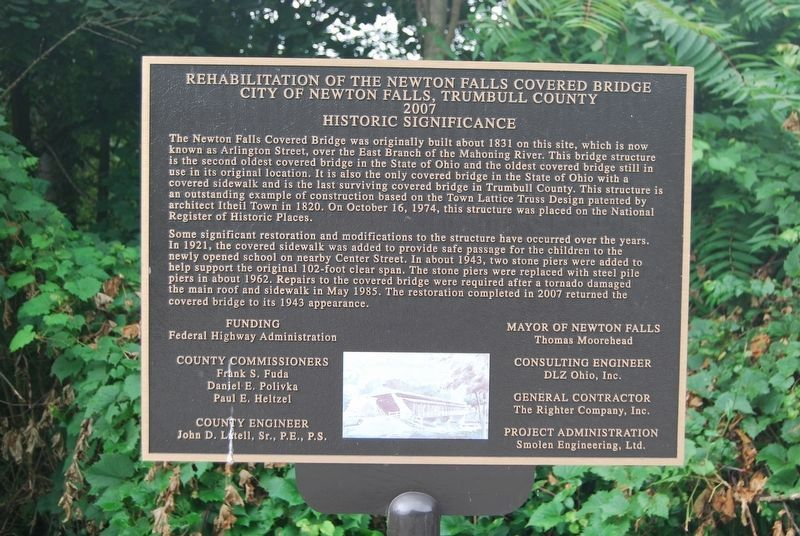 Newton Falls Covered Bridge County Marker image. Click for full size.