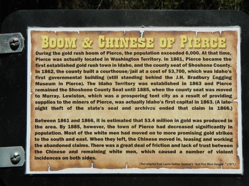 Boom & Chinese of Pierce Marker image. Click for full size.