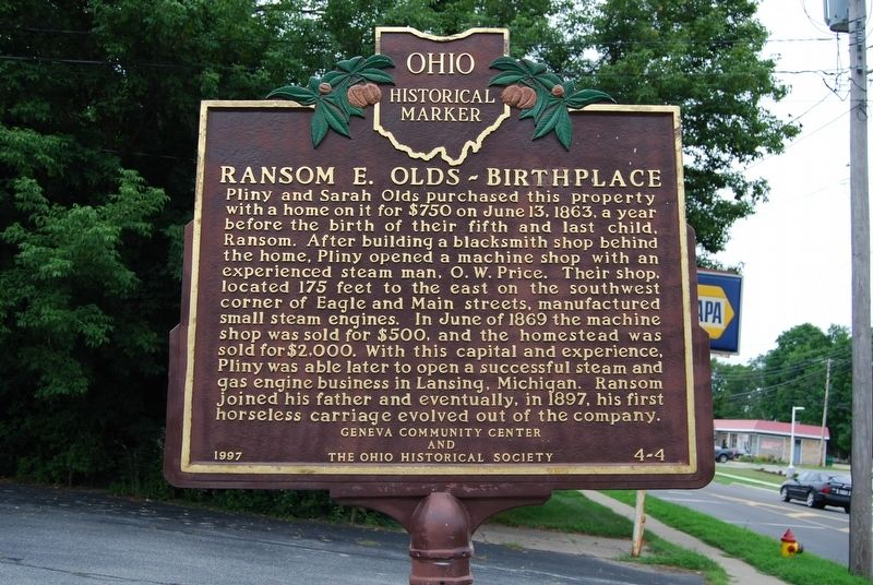 Ransom E. Olds-Birthplace Marker image. Click for full size.