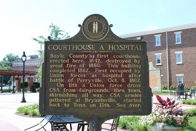 Courthouse a Hospital Marker (Side 1) image. Click for full size.