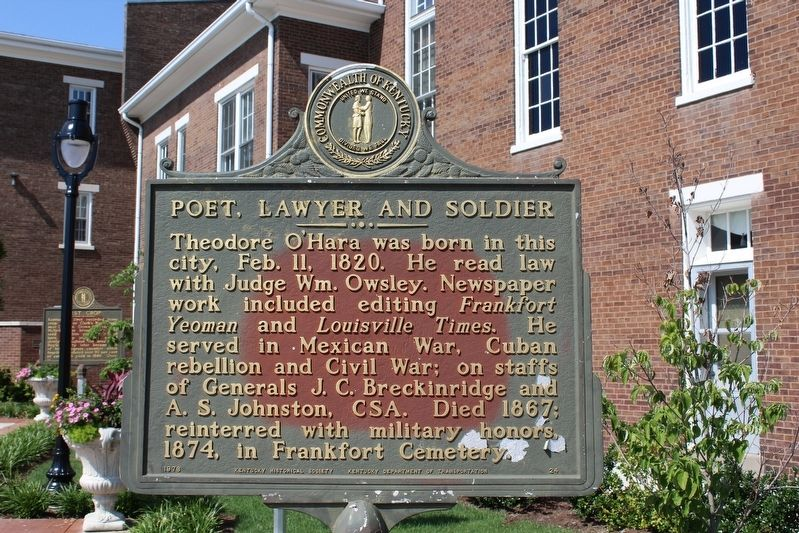Poet, Lawyer and Soldier / Theodore O'Hara Marker (Side 1) image. Click for full size.