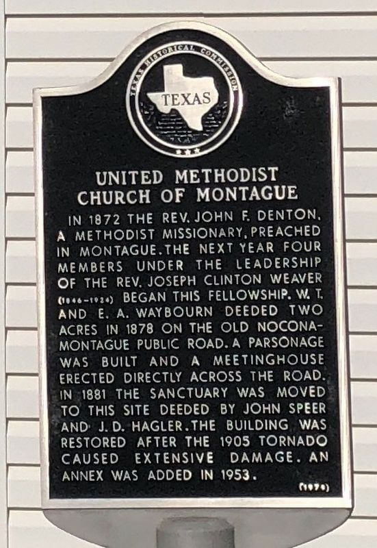 United Methodist Church of Montague Texas Historical Marker image. Click for full size.