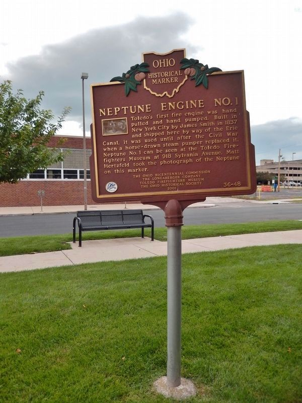 Neptune Engine No. 1 Marker (<i>tall view; looking east</i>) image. Click for full size.