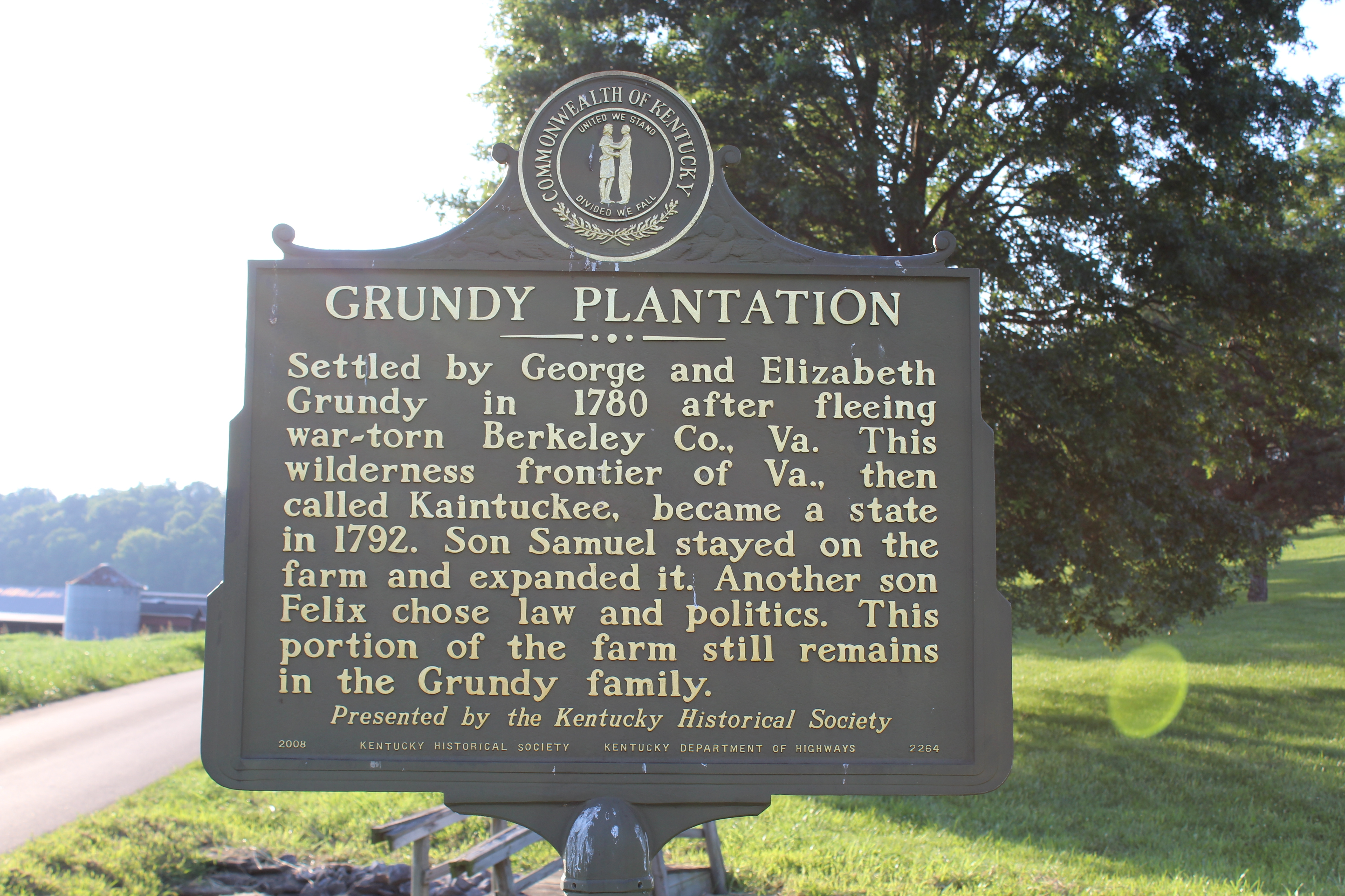 Grundy Plantation / Felix Grundy Marker (Side 1)