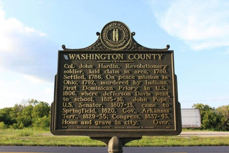 Washington County Marker (Side 1) image. Click for full size.