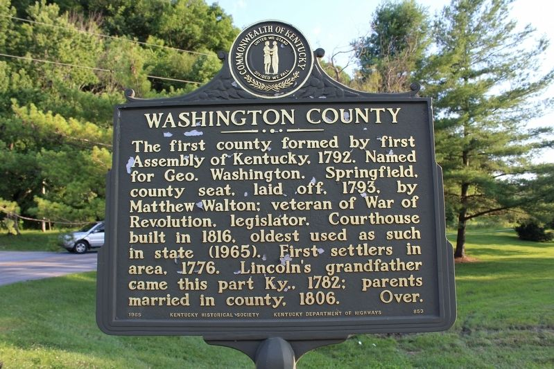 Washington County Marker (Side 2) image. Click for full size.
