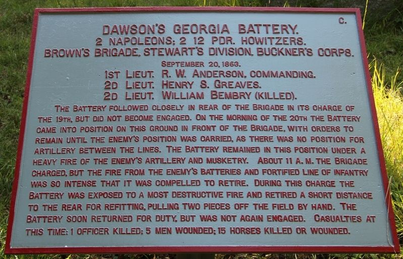 Dawson's Georgia Battery Marker image. Click for full size.