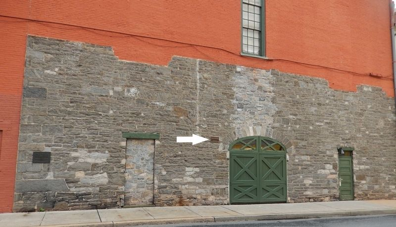 Site of Conestoga Indian Massacre Marker (<i>back wall of Fulton Theater; marker near center</i>) image. Click for full size.
