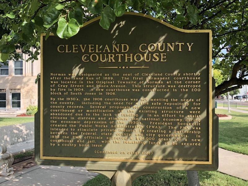 Cleveland County Courthouse Marker Front image. Click for full size.