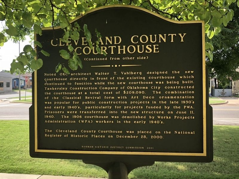 Cleveland County Courthouse Marker Rear image. Click for full size.