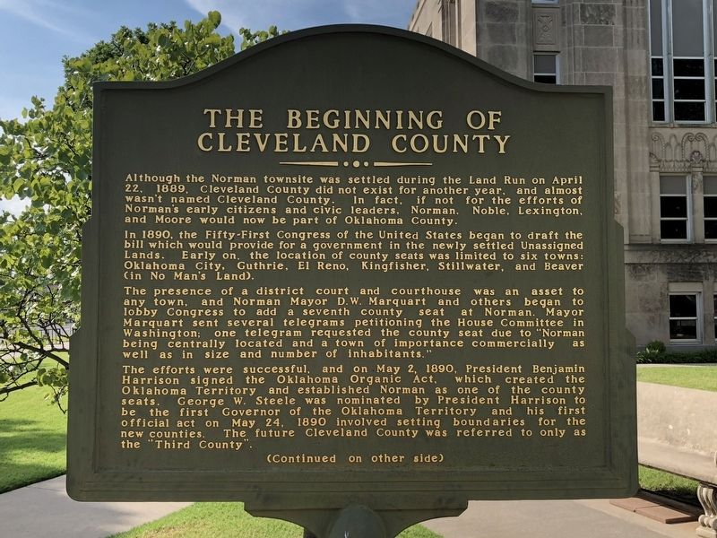 The Beginning of Cleveland County Marker Front image. Click for full size.