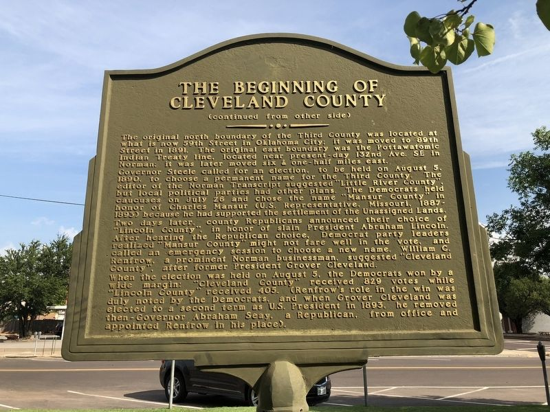 The Beginning of Cleveland County Marker Rear image. Click for full size.