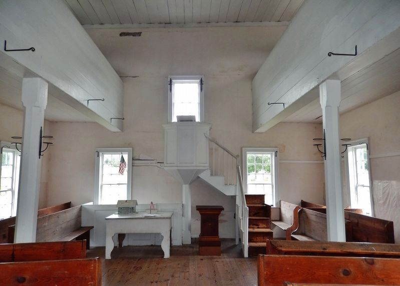 Old Log Church Interior image. Click for full size.