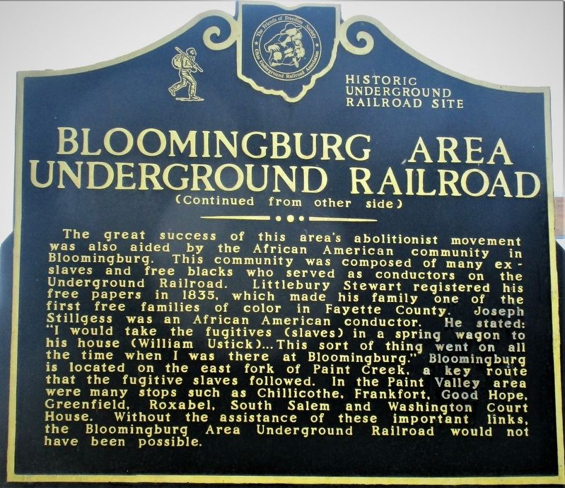 Bloomingburg Area Underground Railroad Marker image. Click for full size.