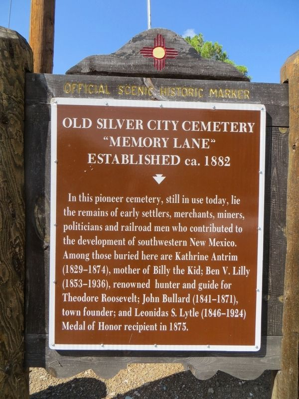 Old Silver City Cemetery Marker image. Click for full size.