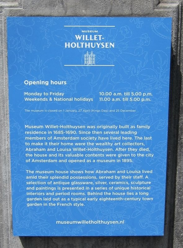 Museum Willet-Holthuysen Marker - English panel image. Click for full size.