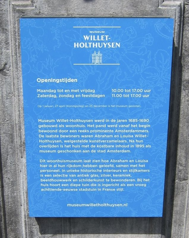 Museum Willet-Holthuysen Marker - Dutch panel image. Click for full size.