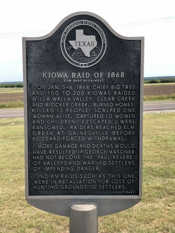 Kiowa Raid of 1868 Marker image. Click for full size.
