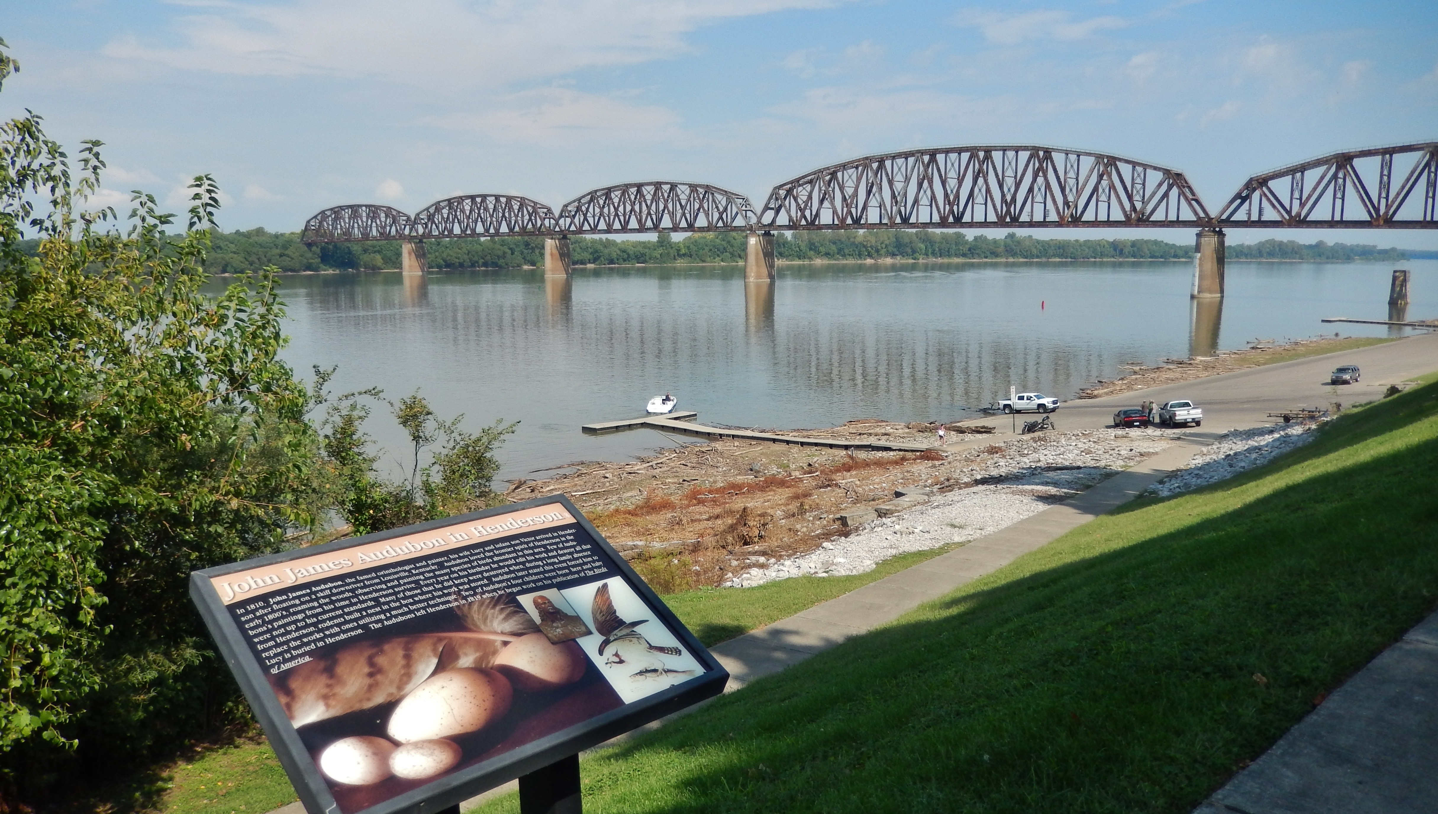 John James Audubon in Henderson Marker (<i>wide view; Ohio River & railroad bridge in background</i>
