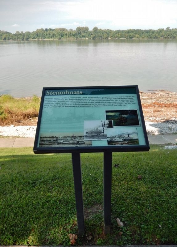 Steamboats Marker (<i>tall view; overlooking the Ohio River</i>) image. Click for full size.