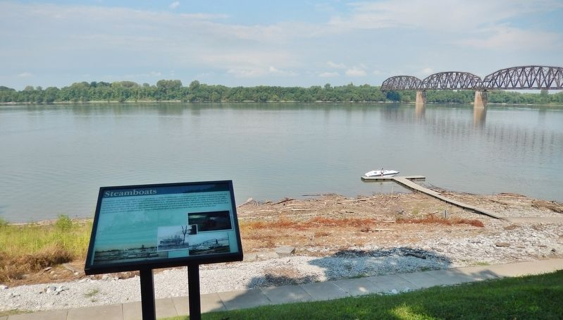 Steamboats Marker (<i>wide view; Ohio River in background</i>) image. Click for full size.