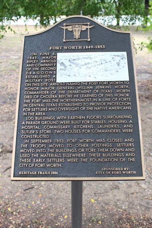 Fort Worth 1849-1853 Marker image. Click for full size.