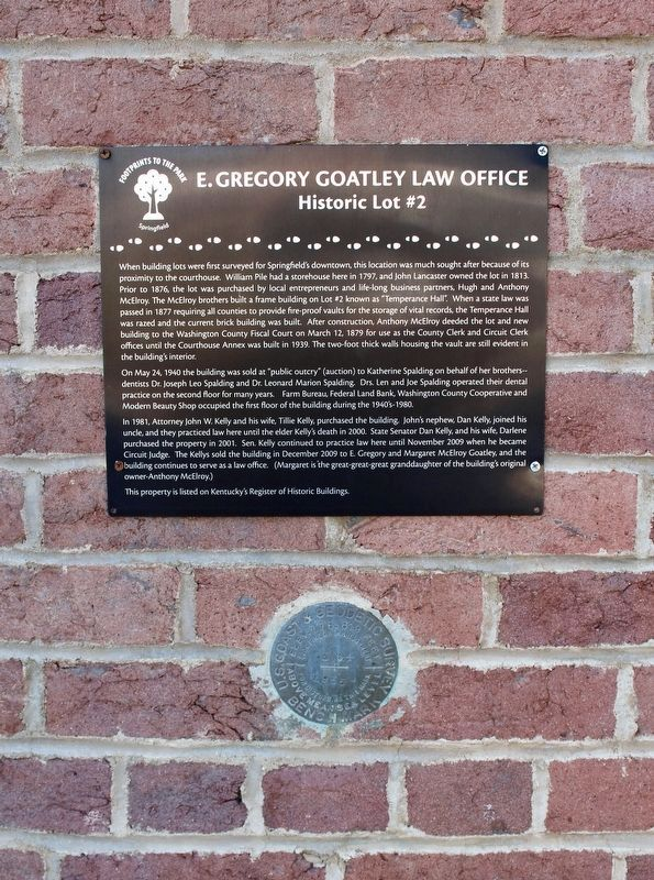 E. Gregory Goatley Law Office Marker and Benchmark image. Click for full size.