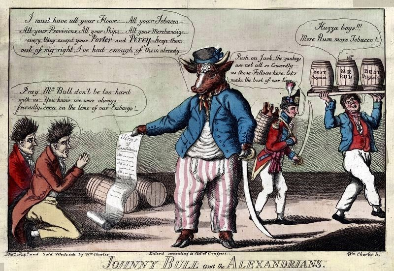 Johnny Bull and the Alexandrians<br>by William Charles, 1814 image. Click for full size.