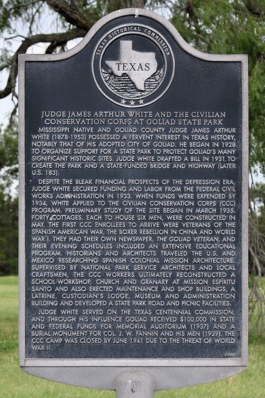 Judge James Arthur White and the Civilian Conservation Corps at Goliad State Park Marker image. Click for full size.