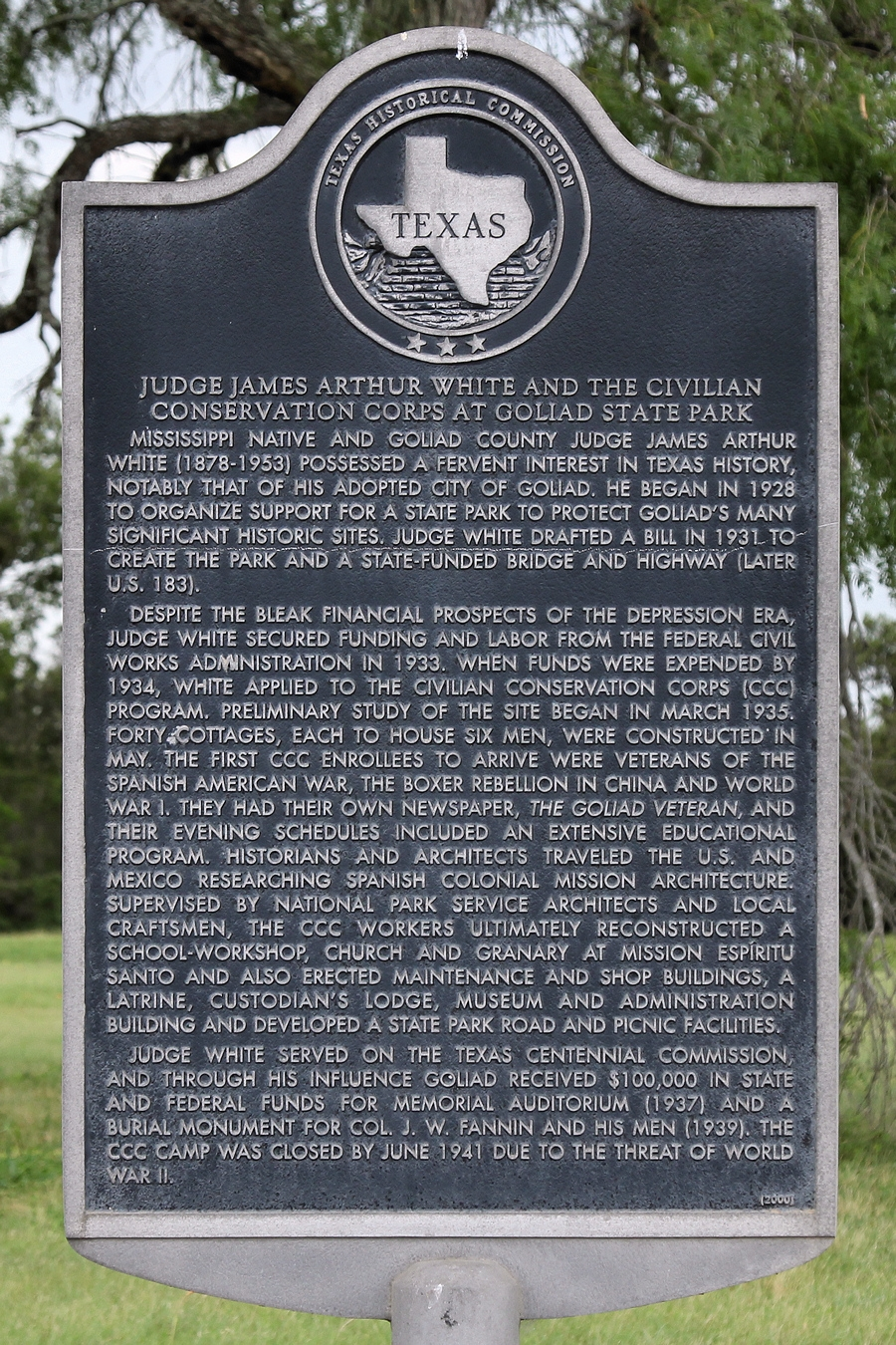 Judge James Arthur White and the Civilian Conservation Corps at Goliad State Park Marker