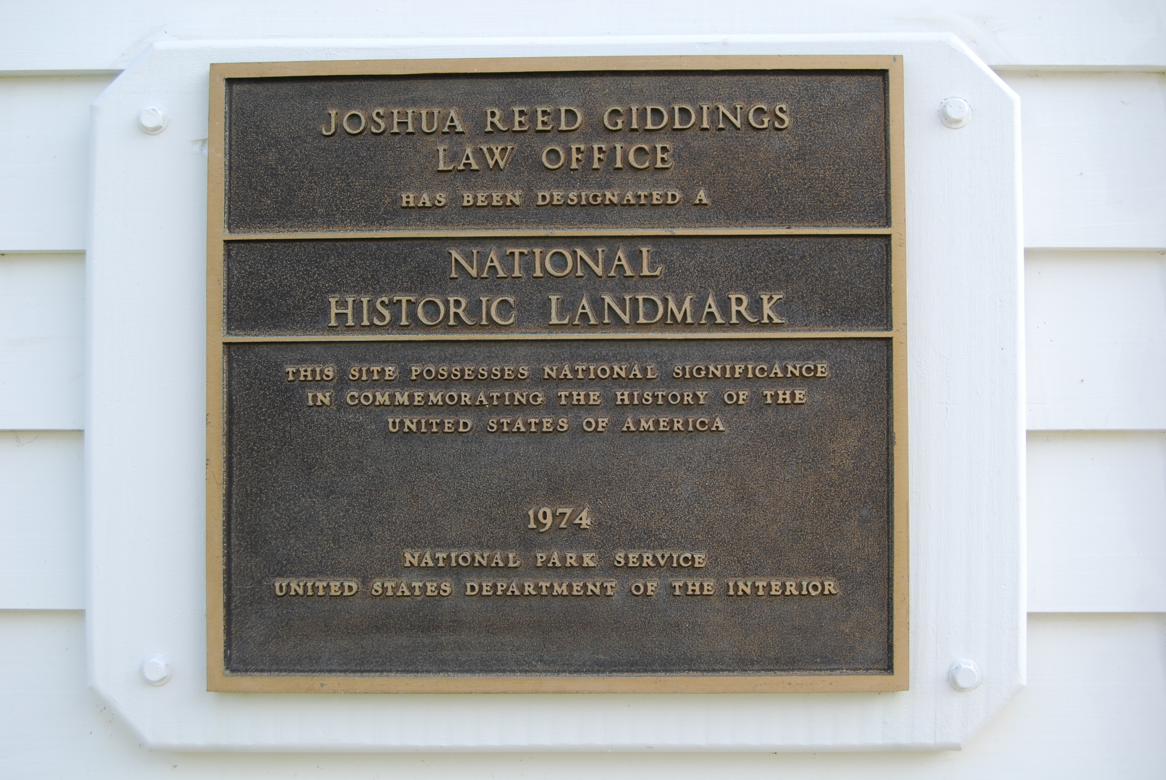 Joshua R. Giddings Law Office National Historic Landmark Marker