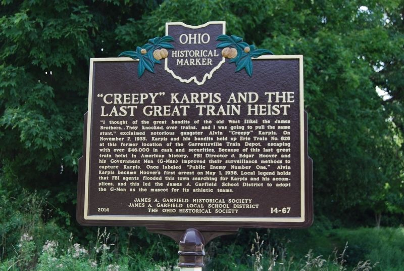 """Creepy"" Karpis and The Last Great Train Heist Marker image. Click for full size."