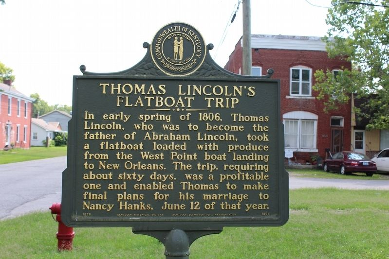 Thomas Lincoln's Flatboat Trip Marker image. Click for full size.