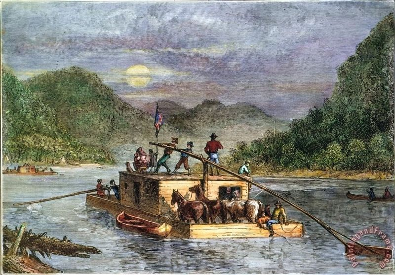 19th Century Flatboat image. Click for full size.