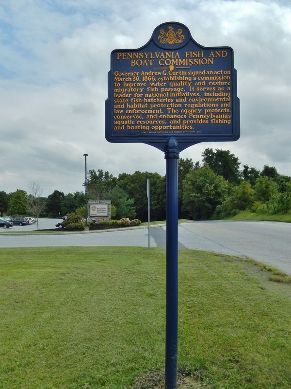 Pennsylvania Fish & Boat Commission Marker (<i>tall view; looking south along State Farm Road</i>) image. Click for full size.