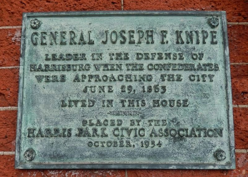 Brigadier General Joseph F. Knipe House (<i>historical plaque mounted between front windows</i>) image. Click for full size.