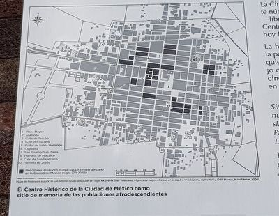 The main areas with a population of African origin in Mexico City (16th-18th century) image. Click for full size.