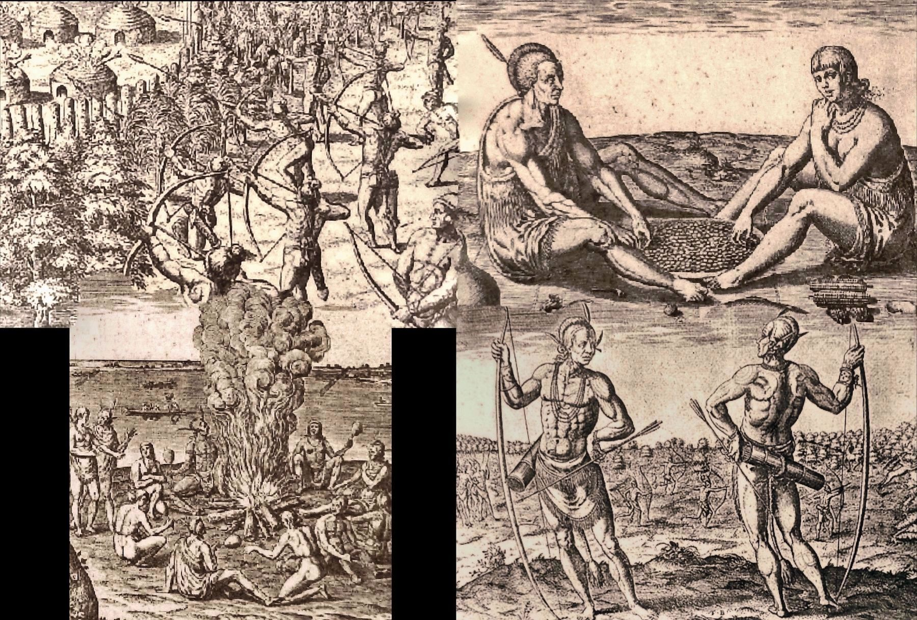 Marker detail: Images of Native American Life by Theodor De Bry image. Click for full size.