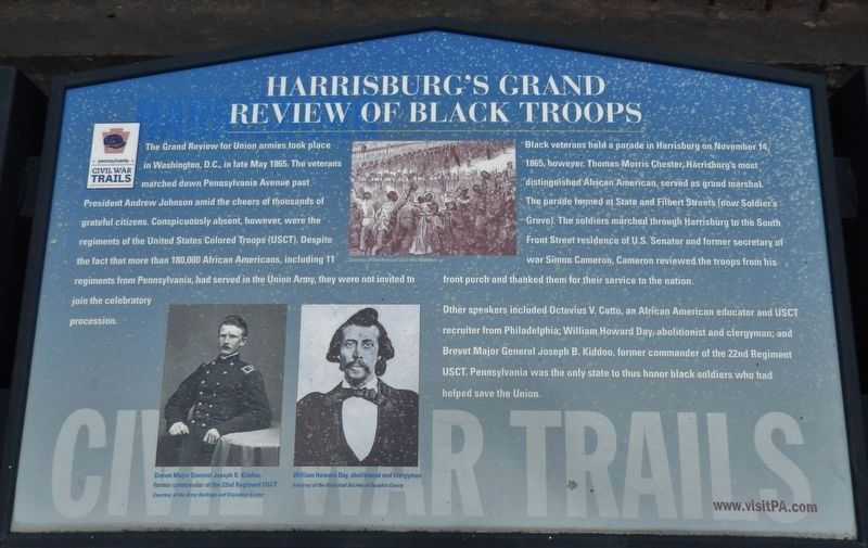 Harrisburg's Grand Review of Black Troops Marker image. Click for full size.