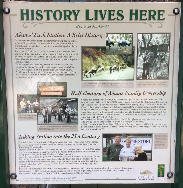 Adams Pack Station Marker image. Click for full size.