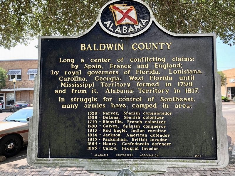 A County Older Than the State, Baldwin County Marker (reverse) image. Click for full size.