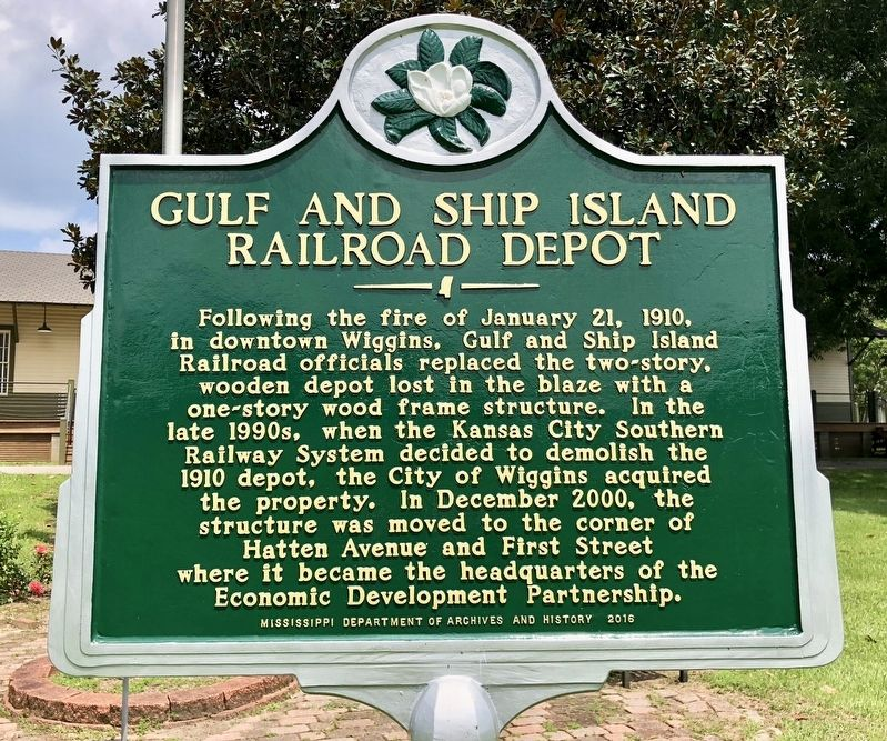 Gulf and Ship Island Railroad Depot Marker image. Click for full size.